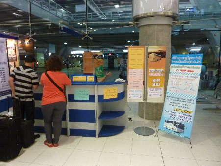bus ticket counter at Suvarnabhumi airport on the 1st Floor next to door number 8